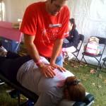 Dr. Matthew Leibman treating walker
