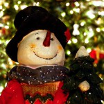 Happy Holidays! snowman, tree background